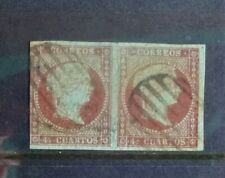 Spain 1855 Two joined imperforate Isabella II 4c stamps used, blue paper