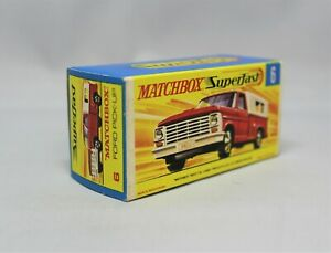 """Matchbox Lesney Superfast No6 FORD PICK UP Empty """" G TYPE BOX VERY RARE """" NO NEW"""