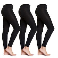 3 Pairs S/M Small Medium Black Fleece Lined Women's Womens Footless Tights