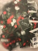 Zaful Forever Young Sheer Mesh Embroidered Floral Crop Top Black Red NEW S SMALL