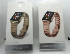 Platinum Apple Watch Stainless Steel Link Band 38mm Bundle Pair