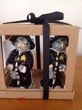 NEW IN BOX BLUE SKY Halloween GOLDMINC GRAY CAT WITCH SALT & PEPPER SHAKER SET