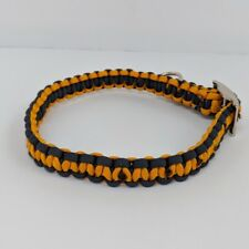 Paracord Dog Collar, Adjustable, Blue and Gold, 12 to 16.5 Inches