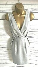 H&M Silver Light Silver Grey Fitted V Neck/Back Grecian Dress Party - UK 12