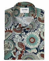 T.M.Lewin Mens Liberty Fabric Slim Fit Dusk Rust Single Cuff Shirt Made with