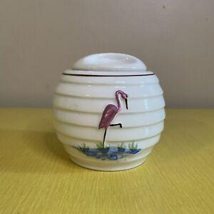 1940s VINTAGE PORCELIER VITREOUS CHINA Flamingo Sugar Bowl W Lid Deco Ceramic