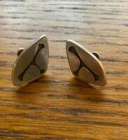 Vintage Sterling Silver Triangular Modernist Screw Back Earrings~Carved Design