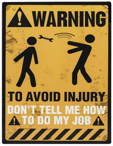 WARNING SAFETY Avoid Injury Job Work Office Site Fun Quote Metal Sign - Large A4