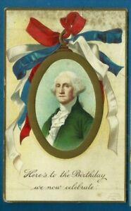 Patriotic embossed postcard/ George Washington/oval gold frame/ribbon/gilded