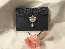 Invitación de Boda Blanco Perla Y Rosa Blush Corte Láser de tarjeta de bolsillo vintage 4