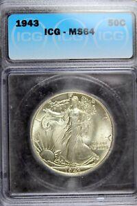 1943 - ICG MS64 Walking Liberty Half Dollar!!  #B18542