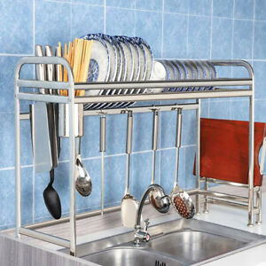 "36"" Over The Sink Dish Drying Rack Stainless Steel Kitchen Cutlery Holder Shelf"
