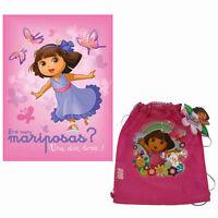 Dora The Explorer Girls Fleece Throw Blanket + BONUS Mesh Sling Backpack NEW