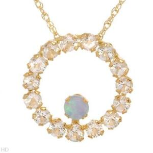 LOVELY SOLID 10K YELLOW GOLD OPAL  AND TOPAZ ETERNITY NECKLACE U$209