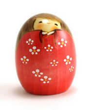 """Japanese Creative KOKESHI Wooden Doll Girl 2.75""""H Shiawase Aka (Made in Japan)"""