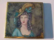 RARE VINTAGE PAINTED TILE OF A BEAUTIFUL VICTORIAN WOMAN GOLD TRIM SIGNED