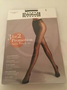 Wolford Satin Touch 20 Tights - 3 for 2 promotion pack Large Black perfect cond/