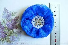 FRENCH TULLE Lace ROYAL BLUE Frilly Flower EACH apprx 9cm across Njoyfull Crafts