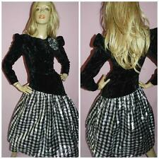 80s BLACK METALLIC SILVER PRINCESS PROM DRESS 10 S 1980s PARTY KITSCH COCKTAIL