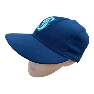 New Era Embroidered Baseball Cap Hat Seattle Mariners 7 1/8 Blue 59FIFTY