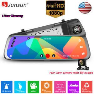 Hlyjoon Dual USB Car Front Rear Mirror Dash Cam 3.in Touch Screen Rearview Mirror Driving Recorder DVR 720P Loop Video Recording Dash Camera