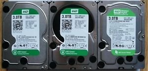 """LOT DE 3 Disques Durs 3 To Tb WESTERN DIGITAL GREEN HDD 3,5"""""""