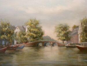 Amsterdam, 9x12 original oil painting Celene Farris  Netherlands Holland Canal