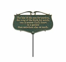 The Kiss of The Sun. Garden Poem Sign, Green/Gold