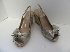 VALENTINO PEWTER LEATHER  PEEP TOE BOW SLINGBACKS ESPADRILLES 41