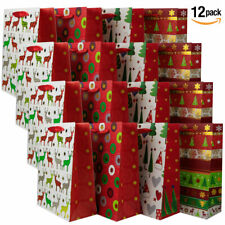 Large Christmas Gift Bags- [12 pack] 26 x 32 x 12cm Shopping Paper Bag Party