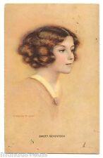 illustrateur C. WARDE TRAVER . SWEET SEVENTEEN . Portrait jeune femme. Woman