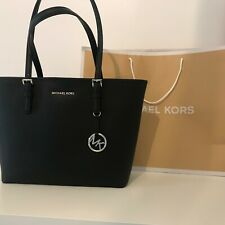 Borsa Donna Michael Kors Jet Set Travel Nera  Carryall Tote Logo MK