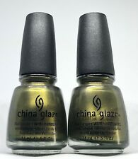 China Glaze Nail Polish Peace on Earth 887 Olive Green with Gold Shimmer Lacquer