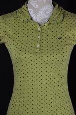 Hollister Womens Medium Apple Green Print Polo Short Ruffle Sleeve 1/4 Button