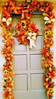 Autumn Fall Wreath & Garland Deco Mesh Thanksgiving Holiday Door Decor