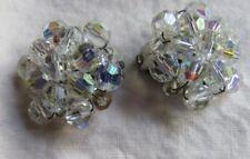 Antique German Aurora Borealis Cluster Crystal Earrings Goddess Jade Jewelry
