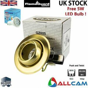 Click GU10 Recessed Downlight Spotlight Tiltable Eyeball w/LED - S Brass GZ025