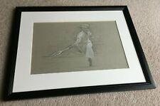 Original Pencil & White Chalk framed Tennis Artwork by Luis Morris ROI