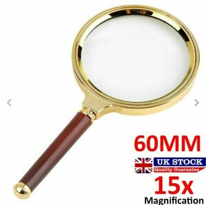 60mm Handheld 15X Magnifier Magnifying Glass Loupe Reading Large | UK Seller
