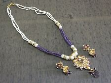 Awesome Filigree Pendant Earring Polki Cz Pearl Faceted Amethyst Beads Chain Set
