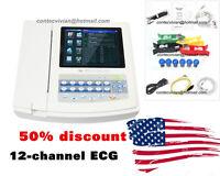 ECG1200G Digital 12 Channel ECG machine Color electrocardiograph,USB PC Software