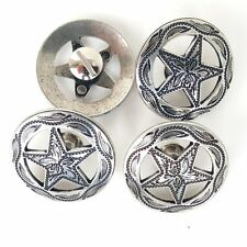 "4 Pack 1-1/4"" Antique Silver Engraved Star Concho W/ Screws"