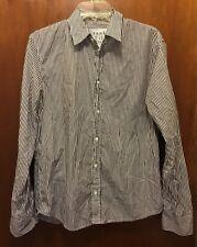 Men FRANK & EILEEN Brown White Striped Paul Cotton Button Down Shirt Small EUC