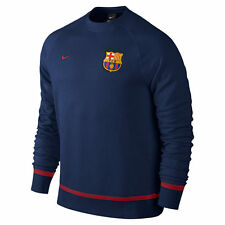 Mens Nike Barcelona Aw77 LS Blue Cotton Football Soccer Sweater S 689925 421