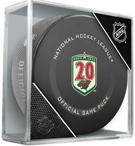 Minnesota Wild Official 20th Anniversary NHL Game Hockey Puck (in Display Cube)