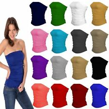 Ladies New Plain Strapless Sleeveless Ruched Boob Tube Women Bandeau Top 8-14