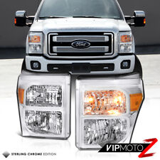 [FACTORY STYLE] 2011-2016 Ford F250 F350 F450 SuperDuty Chrome Headlights Lamps