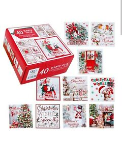 Box of 40 Christmas Cards - Suitable for All Ages - Traditional and Cute