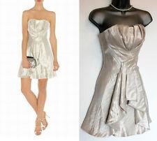 KAREN MILLEN Metallic Pale Gold/Nude Strapless Prom Evening Short Dress 6 EU 34