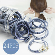 24Pcs Women Elastic Hair Band Ties Rope Ring Hairband Ponytail Holderl Headdress